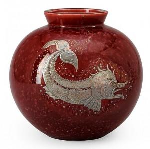 A Wilhelm Kåge Red 'argenta' Stoneware Vase, Gustavsberg by Wilhelm KÅGE
