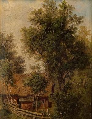 Summer Landscape With Barn by Mikhail Konstantinovich KLODT VON JURGENSBURG