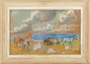 ölandsskiss Av Hästar by Axel KARGEL