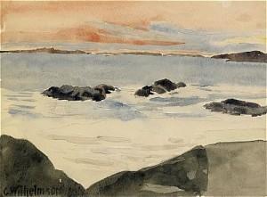 Havsutsikt I Solnedgång - Västkusten by Carl WILHELMSON