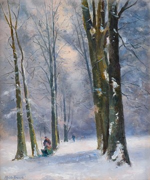 Winter In The Forest Near Paris by Alfred De The Elder BREANSKI
