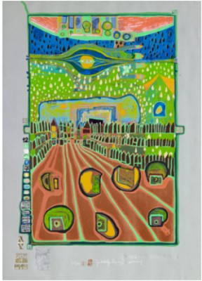"Street For Survivors"". Plate 2 From Look At It On A Rainy Day by Friedensreich HUNDERTWASSER"