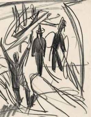 Drei Männer Und Boote Am Strand (recto); Drei Figuren (verso) by Ernst Ludwig KIRCHNER