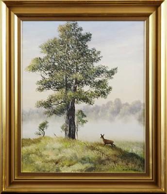 Skogslandskap Med Rådjur by Arvid ANDERSSON