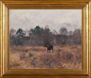 älgtjur Och Gråhund by Lindorm LILJEFORS