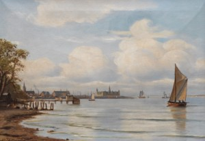 Seascape With A Sailboat And Kronberg Castle by Johan Jens NEUMANN