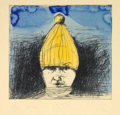 Self Portrait In A Ski Hat, Complete Suite Of Four Etchings (the First With Hand Colouring) by Jim DINE