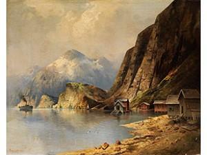 Landschaft Mit Blick Auf Die Bucht Eines Bergsees by Karl KAUFMANN