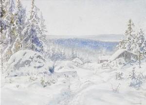 Vinterlandskap by Anshelm SCHULTZBERG