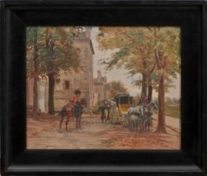 Stadsbild Med Droska Och Soldat Till Häst by Alphonse LALAUZE