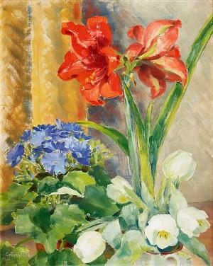 Blomsterstilleben Med Amaryllis Och Vita Tulpaner by Isaac GRÜNEWALD
