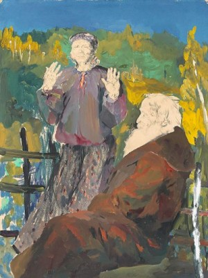 Elderly Peasant Couple In An Autumn Landscape by Filip Andreevich MALIAVIN