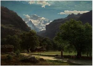 Nøttealléen Ved Interlaken Med. Die Jungfrau I Bakgrunnen by Hans Fredrik GUDE