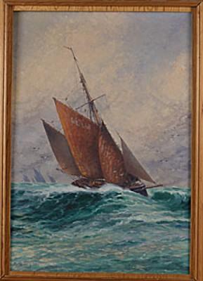 Segelbåt I Stormande Hav by Alfred COLLIN