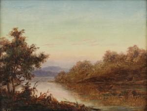 Flodlandskap Vid Solnedgång by Ferdinand FAGERLIN