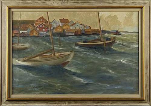 Kustby Vid Stormigt Hav by Olle SKOGMAN