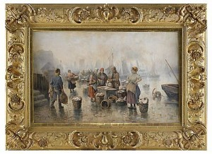 In The Fish Harbour by Adolf Constantin The Elder BAUMGARTNER