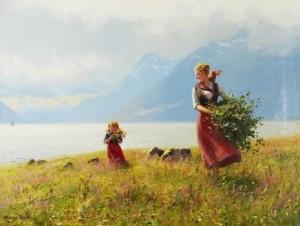 """""""sommerdag"""" - Mor Och Dotter I Fjordlandskap by Hans DAHL"""