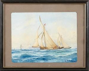 Strandmotiv Med Segelbåtar by Christian Fredrik SWENSSON