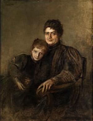 Portrait Einer Dame Mit Ihrer Tochter by Franz Seraph Von LENBACH
