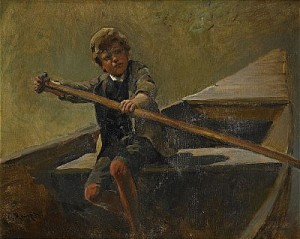 Pojke I Roddbåt by Karl RAUPP