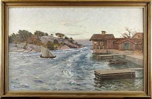 Skärgårdslandskap Med Segelbåt by Rikard LINDSTRÖM