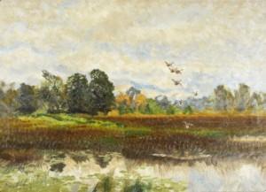 Landskap Med Lyftande Gräsänder by Bruno LILJEFORS