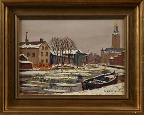 Stadshuset I Vintergryning by Gunnar ZETTERSTRÖM