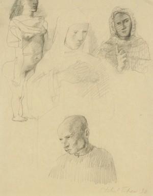 études: Têtes De Personnages by Pavel Feodorovich TCHELITCHEW