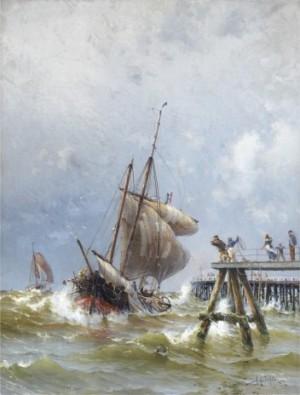 Segelfartyg Vid Pir by Herman Af SILLÉN