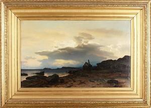 Kustlandskap I Aftonrodnad by Axel Wilhelm NORDGREN