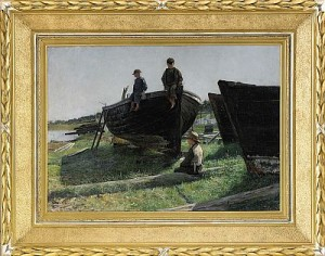 Vårdag Vid Slipen - Mor Med Söner Vid Fiskebåt by Gottfrid KALLSTENIUS