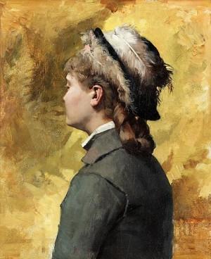 Ung Kvinna I Grått by Albert EDELFELT