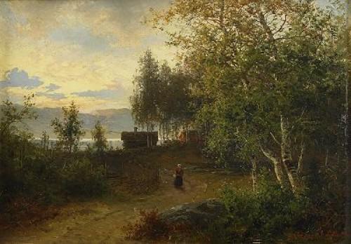 Norrländskt Kustlandskap Med Kvinna På Väg by Per Daniel HOLM