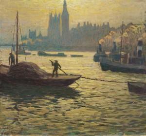 Evening At River Thames by Väinö BLOMSTEDT