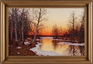 Insjölandskap På Vårvintern I Skymmningsljus by Edvard ROSENBERG