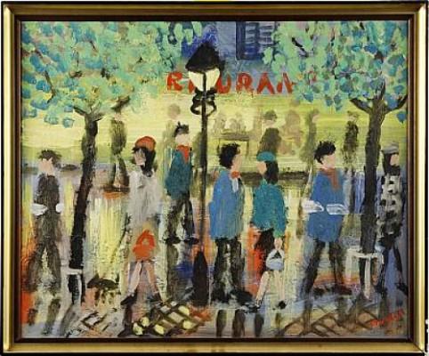 Kvällsflanörer Paris by Eskil NORDELL