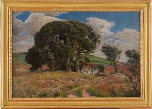 Landskapsmotiv Med Hus Och Träd by Viggo PEDERSEN