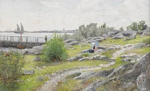 Ung Kvinna Med Parasoll I Sommarlandskap by Axel LINDMAN
