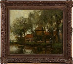 Gård Vid Flodbanken Med Höns by Willem George Frederick JANSEN