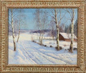 Winter Snowfall Scene With Cabin by Karl Ioganovich ROSEN