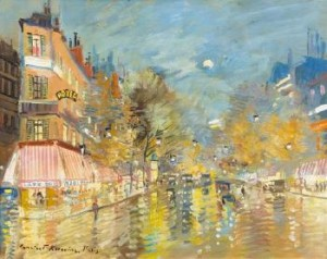 Paris At Night by Konstantin Alexeievich KOROVIN