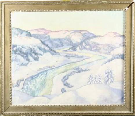 Vinterlandskap Med Vattendrag by Hadar JÖNZÉN