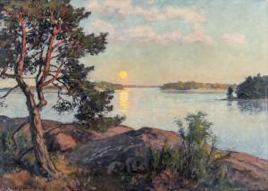 Vidsträckt Skärgårdslandskap Med Solnedgång by Gottfrid KALLSTENIUS