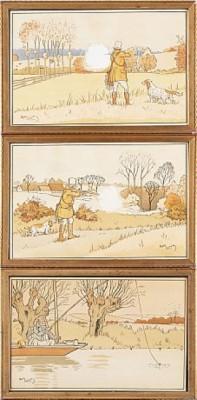 (3) Jakt Och Fiskemotiv by Charles Edmond 'Harry Eliott' HERMET