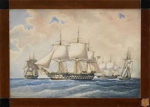Linjeskeppet Stockholm, Fregatten Eugenie, Korvetten Af Chapman Och Briggen Nordenskjöld by Jacob HÄGG
