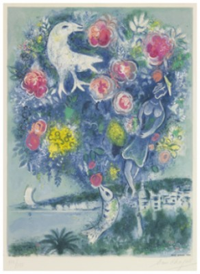 "La Baie Des Anges Au Bouquet De Roses. Plate V From ""nice Et La Côte D'azur. After By Charles Sorlier. by Marc CHAGALL"