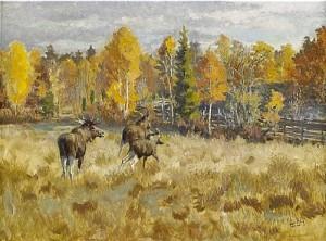 Springande älgar I Höstlandskap by Harald WIBERG