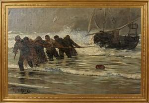 Fiskare Halar Upp Fartyg by Eugène Henri Alexandre CHIGOT
