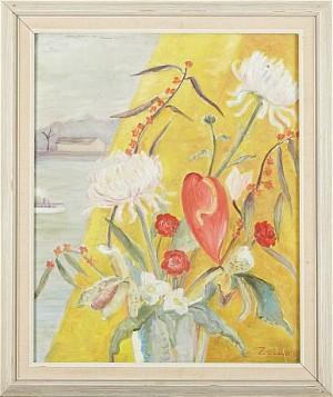 Blomsterstilleben Med Fönsterutsikt by Krukowskaja ZOIA